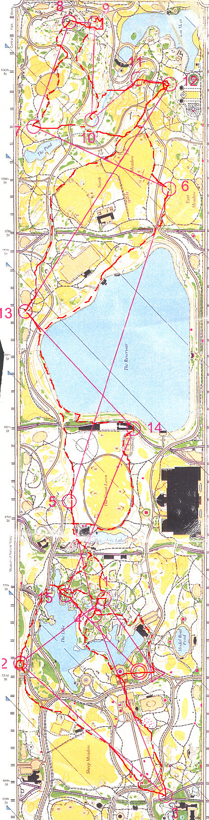 Orienteering map in Central Park