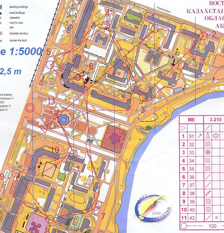 Ust-Kamenegorsk - orienteering map